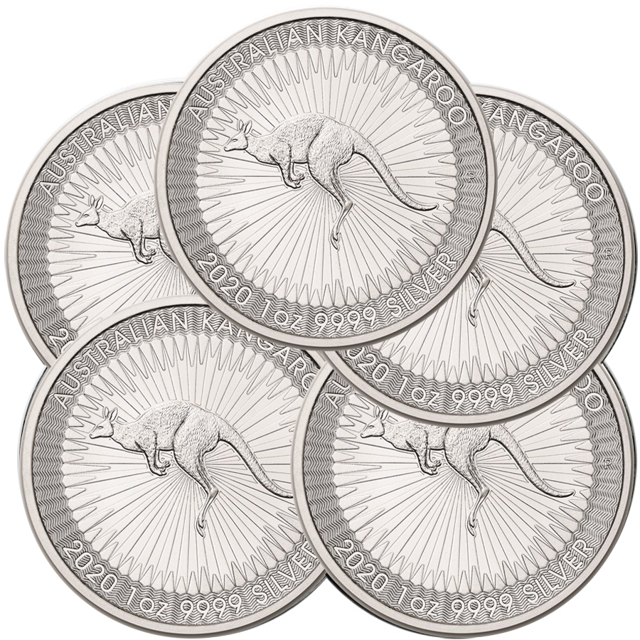 Lot of 5 - 2020 1 oz Silver Australian Kangaroo Coin BU