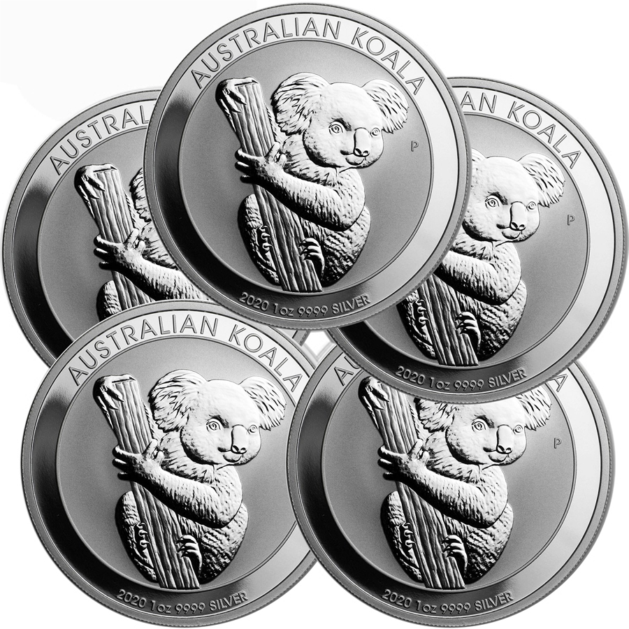 Lot of 5 - 2020 1 oz Silver Australian Koala Coin BU