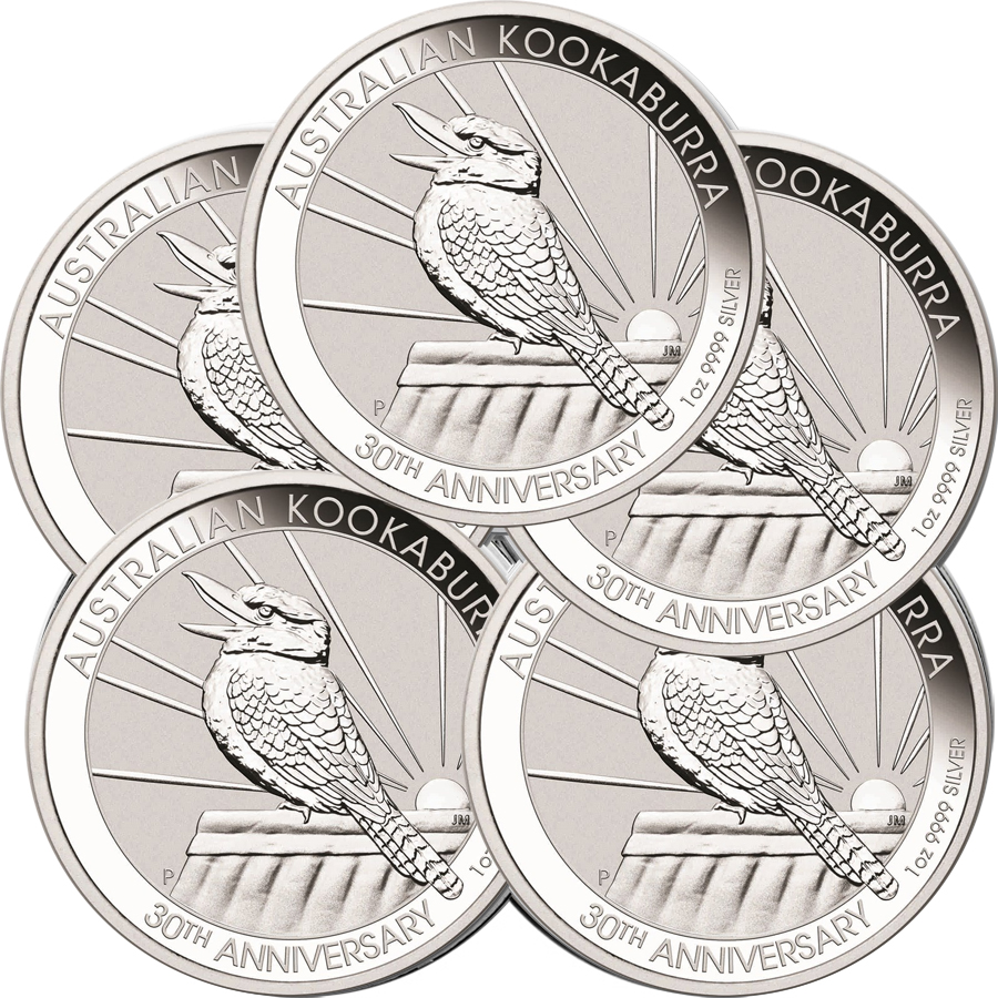 Lot of 5 - 2020 1 oz Silver Australian Kookaburra BU