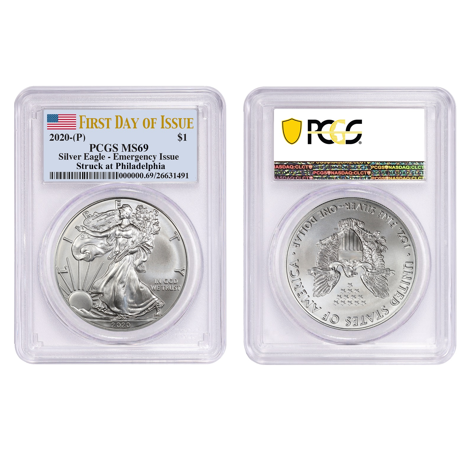 2020 (P) Struck At Philadelphia Silver Eagle PCGS MS69 FDIO