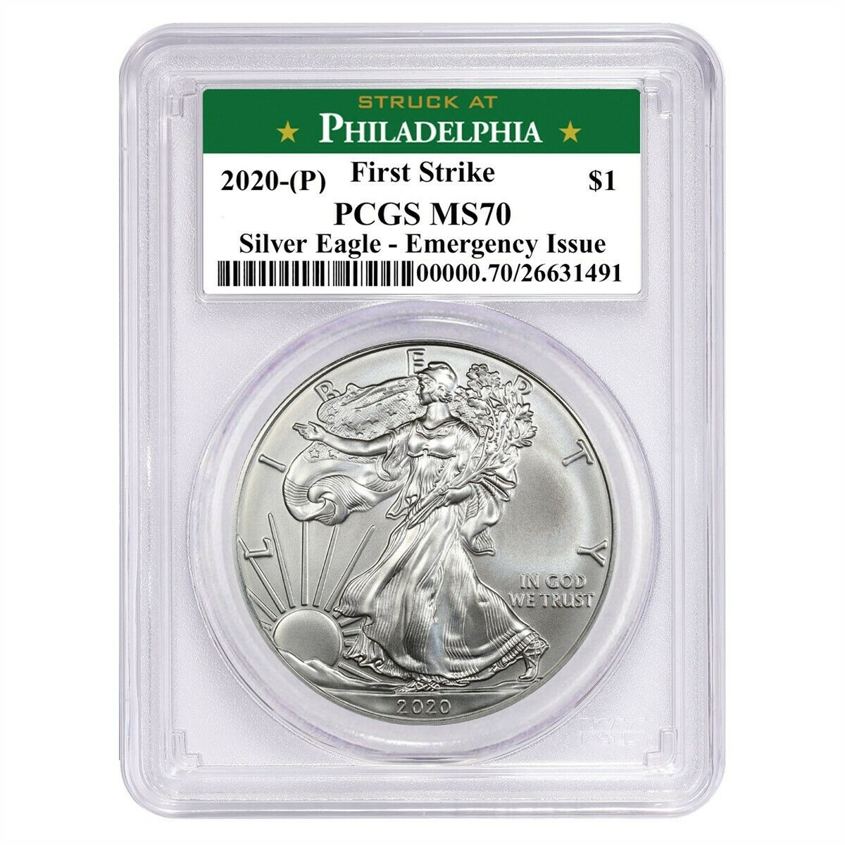 2020 (P) Struck At Philadelphia Silver Eagle PCGS MS70 FS