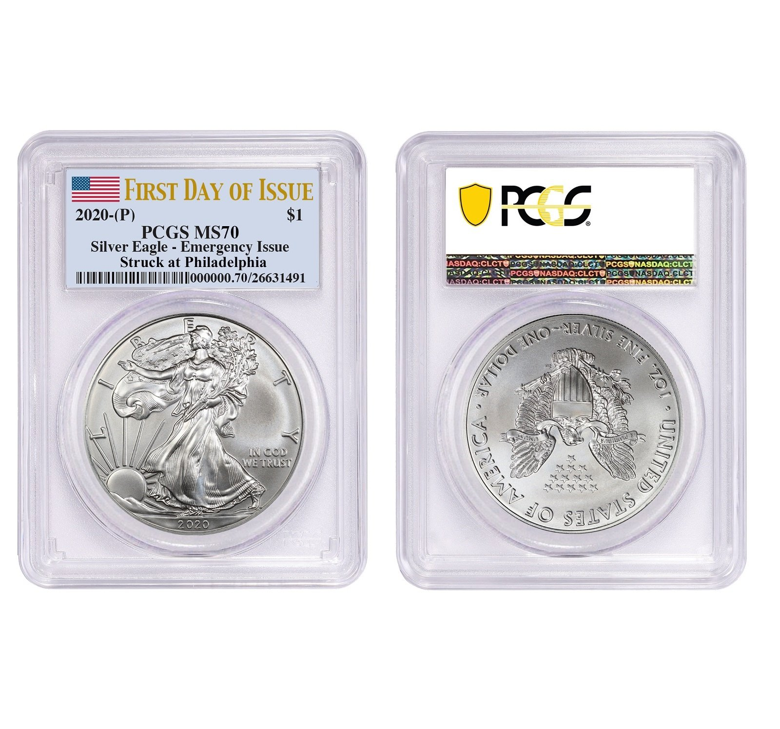 2020 (P) Struck At Philadelphia Silver Eagle PCGS MS70 FDIO