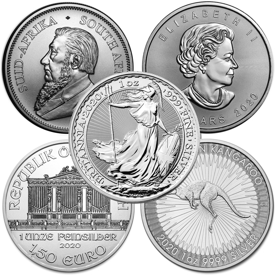 Lot of 5 - 2020 1 oz Silver Coins From Around The World BU