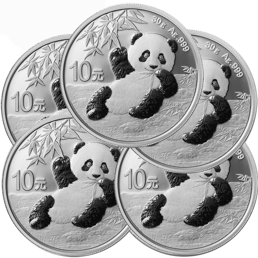 Lot of 5 - 2020 30 Gram Silver Chinese Panda Coin In Capsule