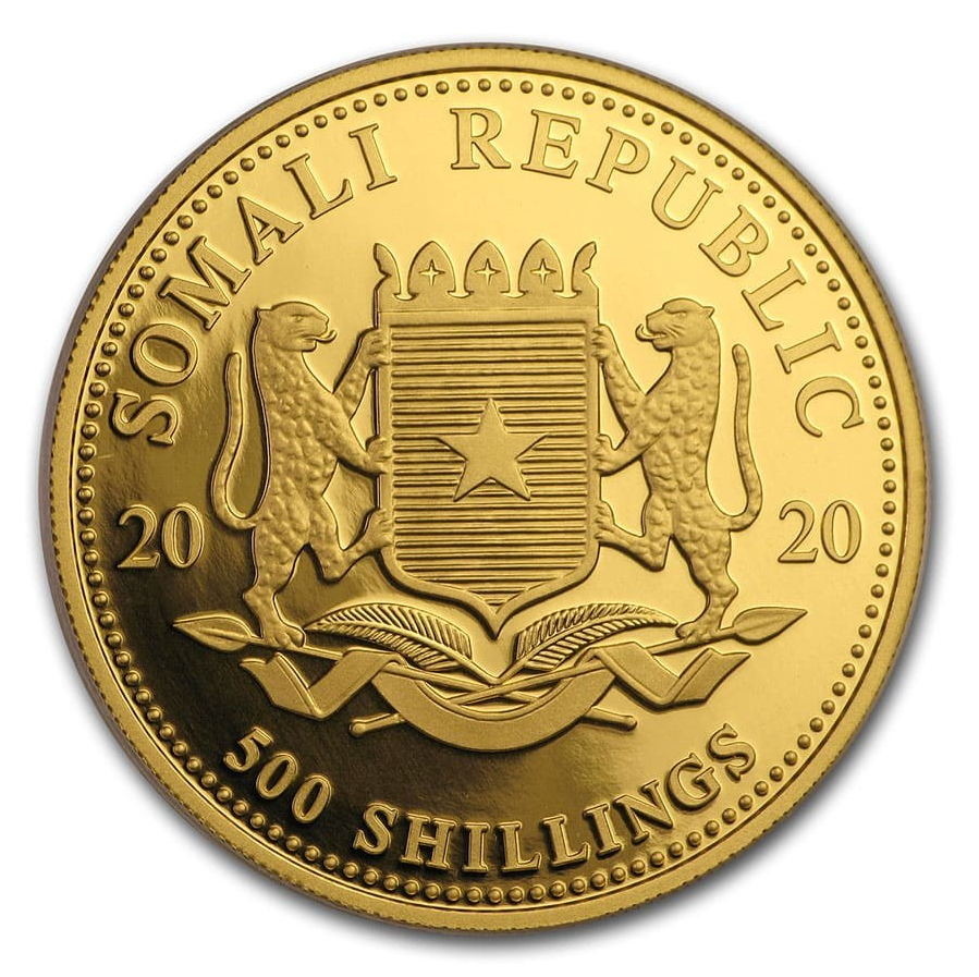2020 Somalia 1/2 oz Gold Elephant Coin BU