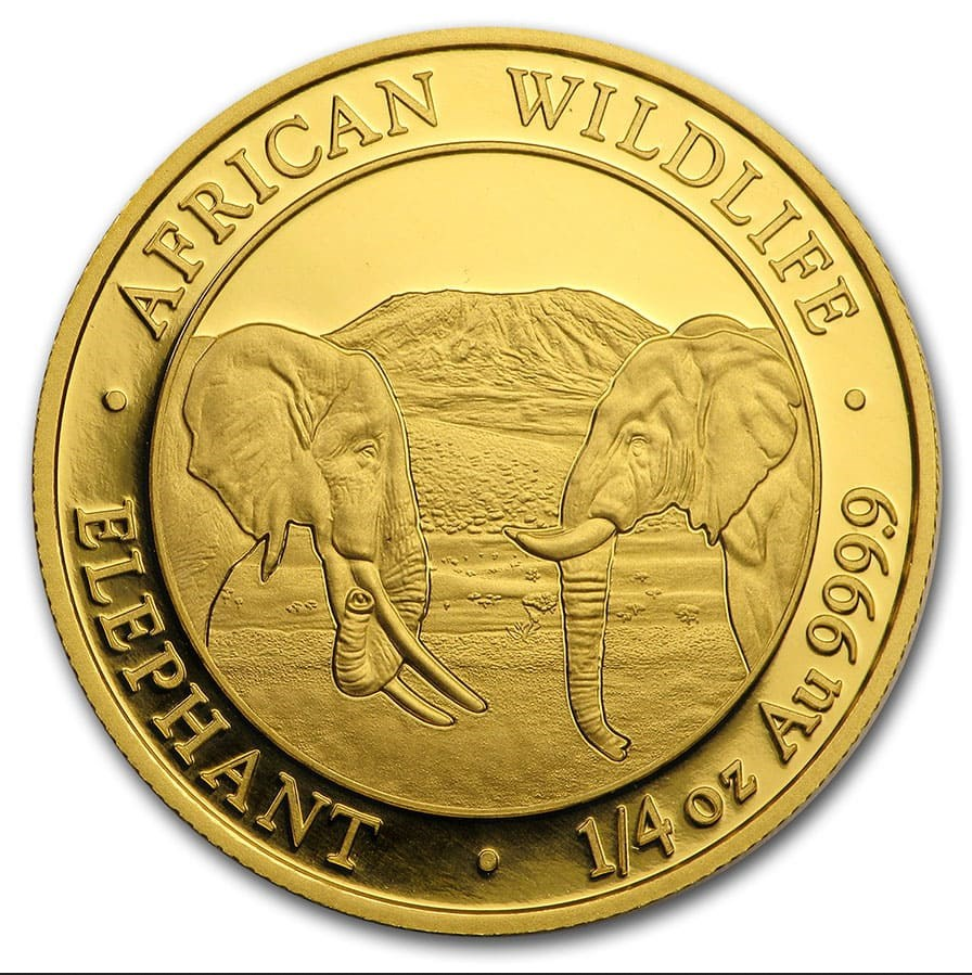 2020 Somalia 1/4 oz Gold Elephant Coin BU
