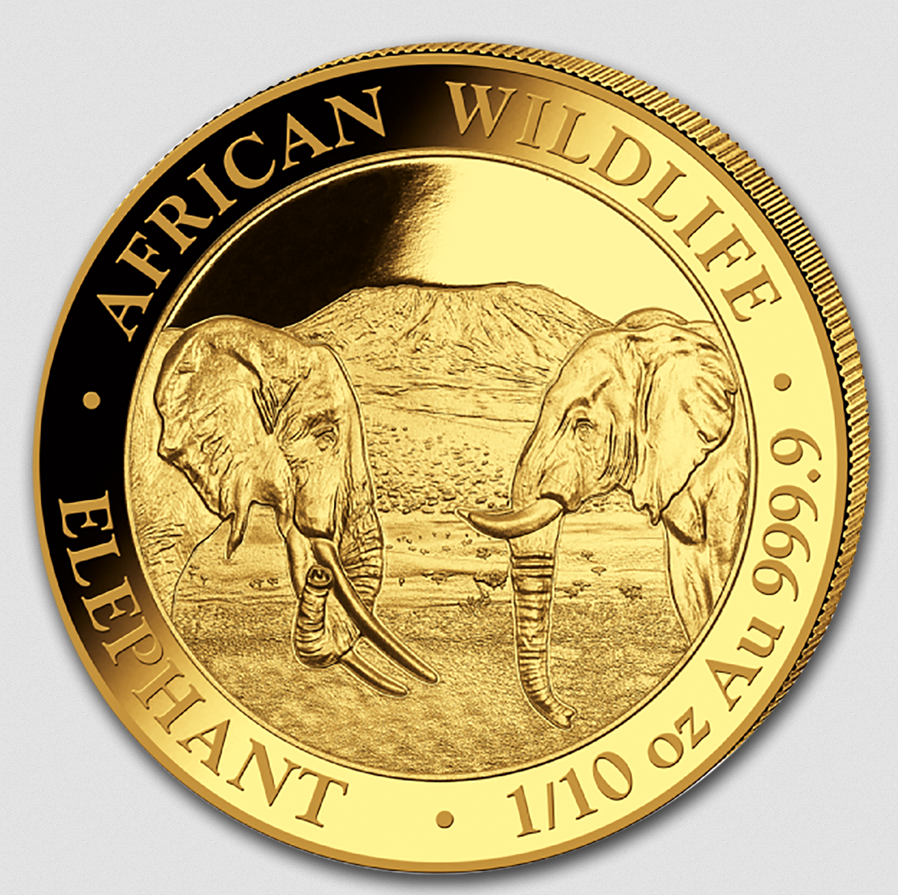 2020 Somalia 1/10 oz Gold Elephant Coin BU