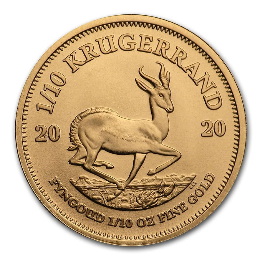 2020 South African Krugerrand 1/10 oz Gold Coin