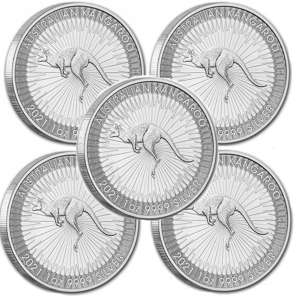 Lot of 5 - 2021 1 oz Silver Australian Kangaroo Coin BU - 3/26