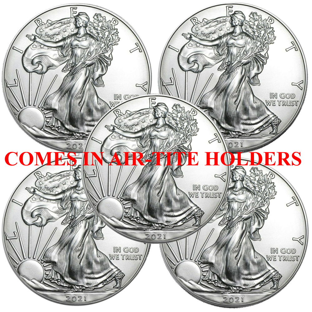 Lot of 5 - 2021 1 oz American Silver Eagle Coins BU - AT