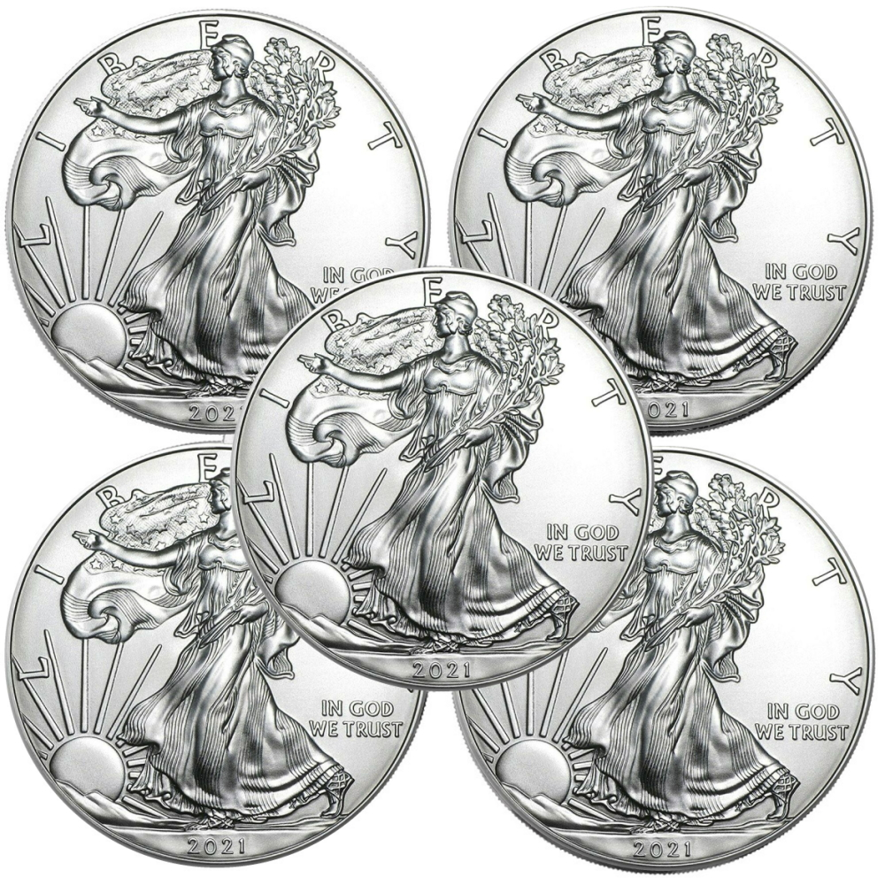 Lot of 5 - 2021 1 oz American Silver Eagle Coins BU