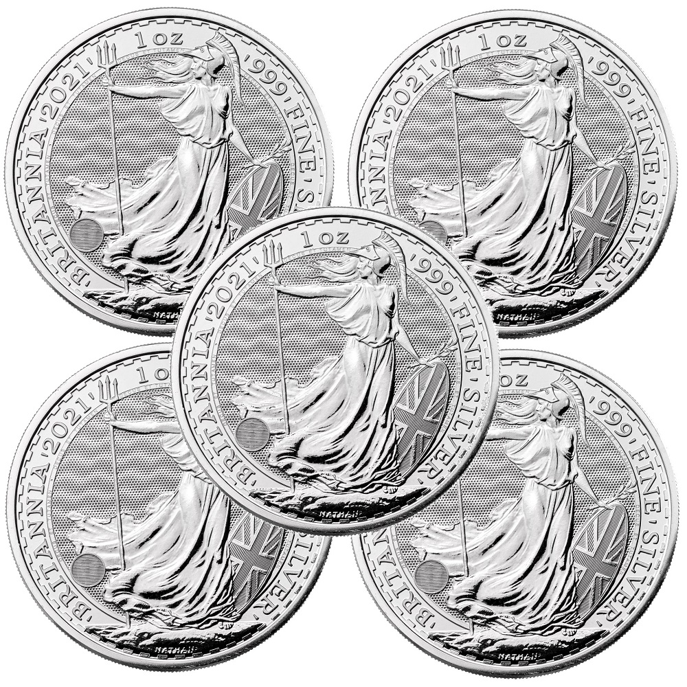 Lot of 5 - 2021 1 oz Silver Britannia Coin BU