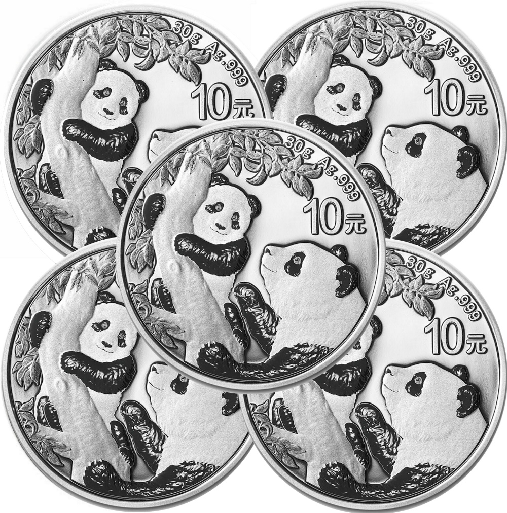 Lot of 5 - 2021 30 Gram Silver Chinese Panda Coin In Capsule