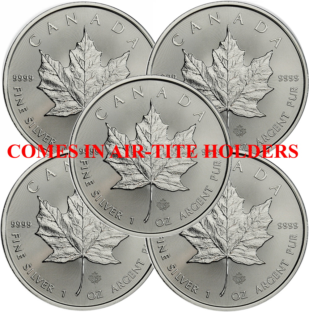 Lot of 5 - 2021 1 oz Canadian Silver Maple Leaf Coin BU AIR-TITE