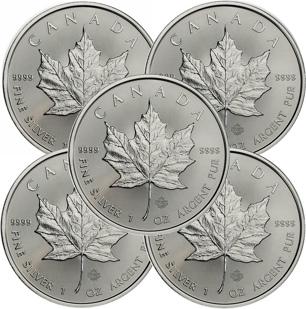 Lot of 5 - 2021 1 oz Canadian Silver Maple Leaf Coin 9999 Silver
