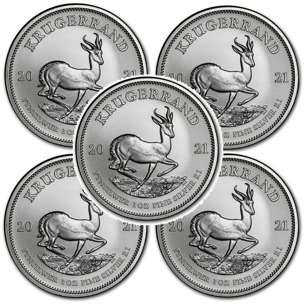 Lot of 5 - 2021 South Africa 1 oz Silver Krugerrand BU 3/19