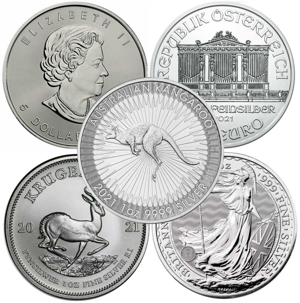 Lot of 5 - 2021 1 oz Silver Coins From Around The World BU