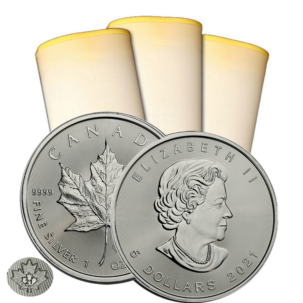 2021 1 oz Canadian Silver Maple Leaf Roll Of 25 Coins BU