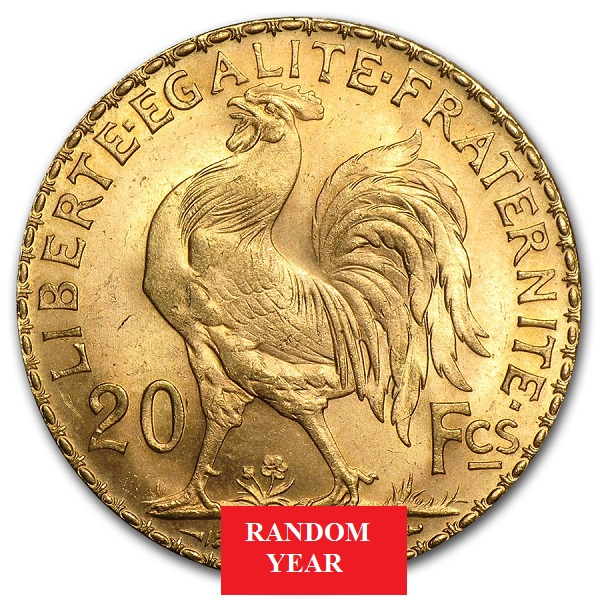 1899-1914 France Gold 20 Francs Rooster Avg. Cir.