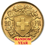 Swiss Gold 20 Francs Helvetia .1867 oz of Gold Avg - Random Year