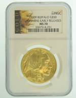 2009 1 oz Gold American Buffalo NGC MS70 Early Release