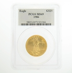 1986 1/2 oz PCGS MS 69 American Gold Eagle Coin