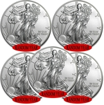 Lot of 5 - Random(2008) Year 1 oz American Silver Eagle Coins BU