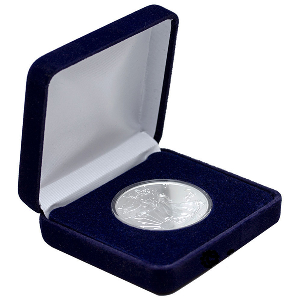 2021 1 oz American Silver Eagle Coin BU With Velvet Box