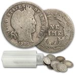 Barber Dimes 90% Silver 50 Coin Roll $5 Face Value Avg. Circ.