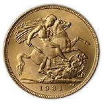 British Sovereign Gold Coin Random Year .2354 Ounces Of Gold