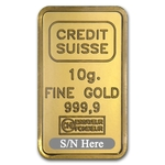10 Gram Credit Suisse Gold Bar .9999 Fine Gold With Assay Cert