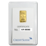 1 Gram Credit Suisse Gold Bar .9999 Fine Gold With Assay Cert CS