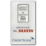 5 Gram Credit Suisse Platinum Bar 999 Fine With Assay