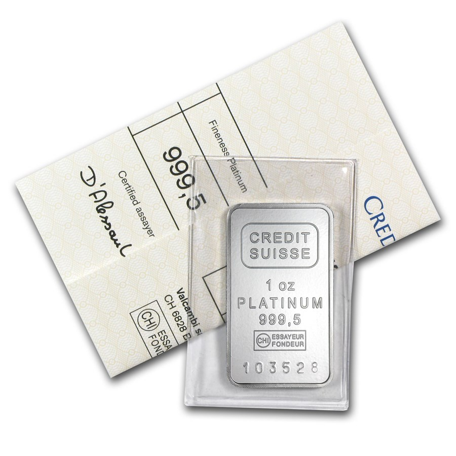 1 oz Platinum Bar - Credit Suisse .9995 Fine with Assay Cert