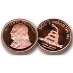 1 AVDP oz Copper Benjamin Franklin Coin