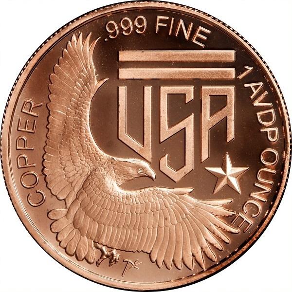 Tube of 20 Ounces Of Copper 1 oz Each $1 BLACK EAGLE NOTE Design  Bullion Rounds