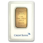 1 oz Credit Suisse Gold Bar .9999 Fine Gold With Assay Cert CS
