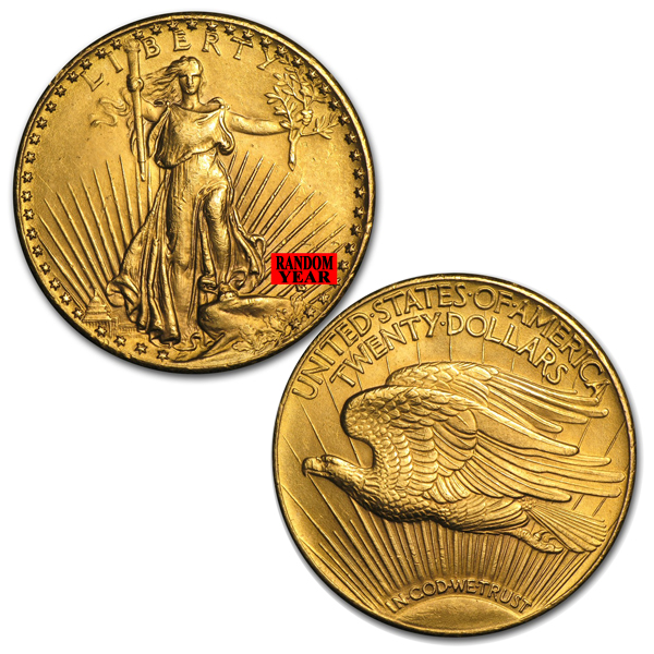 $20 Gold Double Eagle Saint Gaudens Coin - Random Year