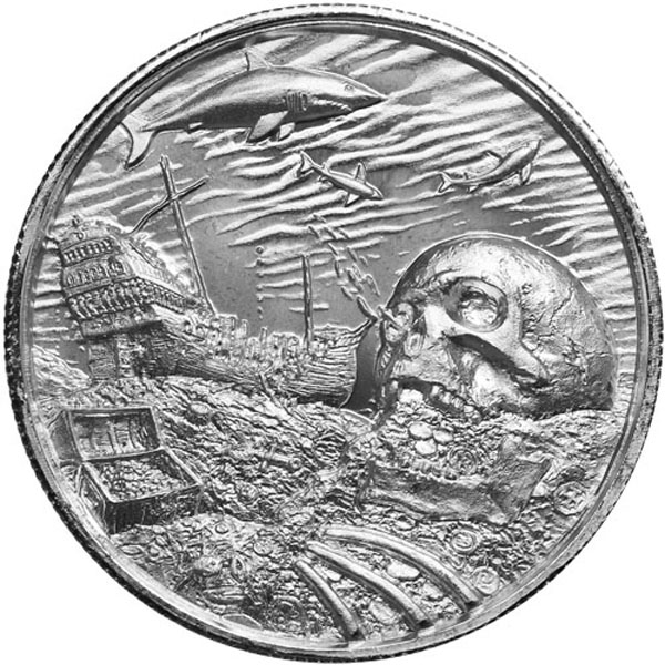2 oz Silver Ultra High Relief Round Davy Jones Locker Ships 4/27