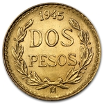 Gold Mexican 2 Pesos Coin .0482 oz