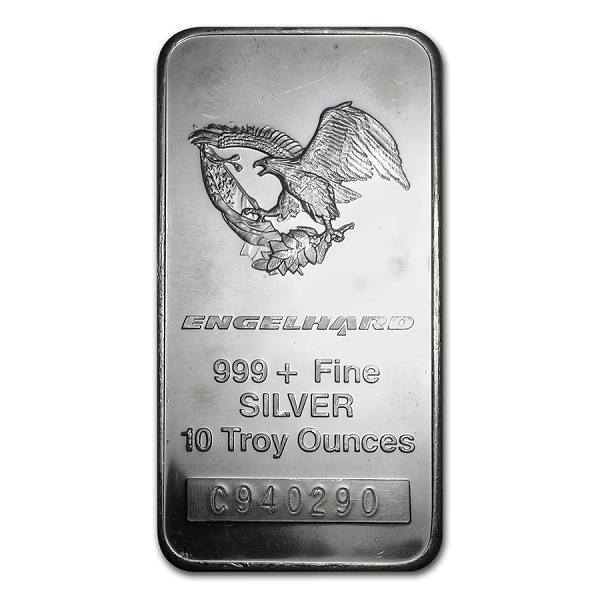 10 oz Silver Bar - Engelhard Tall - Eagle Design