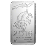 10 oz Year Of The Monkey Silver Bullion Bar 999 Fine Silver