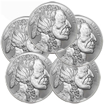 Lot of 5 - 1 oz Silver Buffalo Round 999 Elemetal