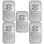 Lot of 5 - 1 oz Elemetal Silver Bar .999 Fine Silver
