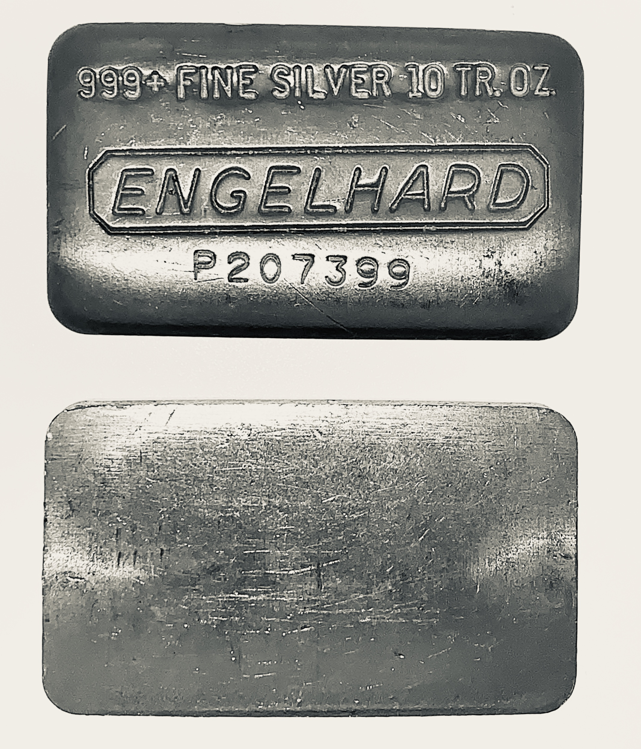 10 oz Silver Bar - Engelhard - Wide Poured