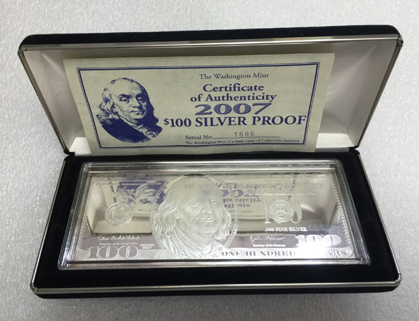 "4 oz .999 Silver Bar ""2013 $100 Federal Reserve Note"""