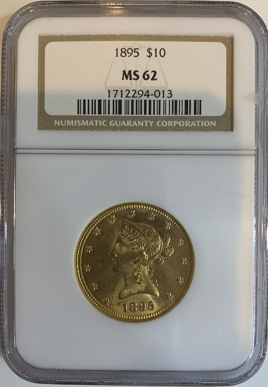 1895 $10 Gold Eagle Liberty Coin NGC MS-62