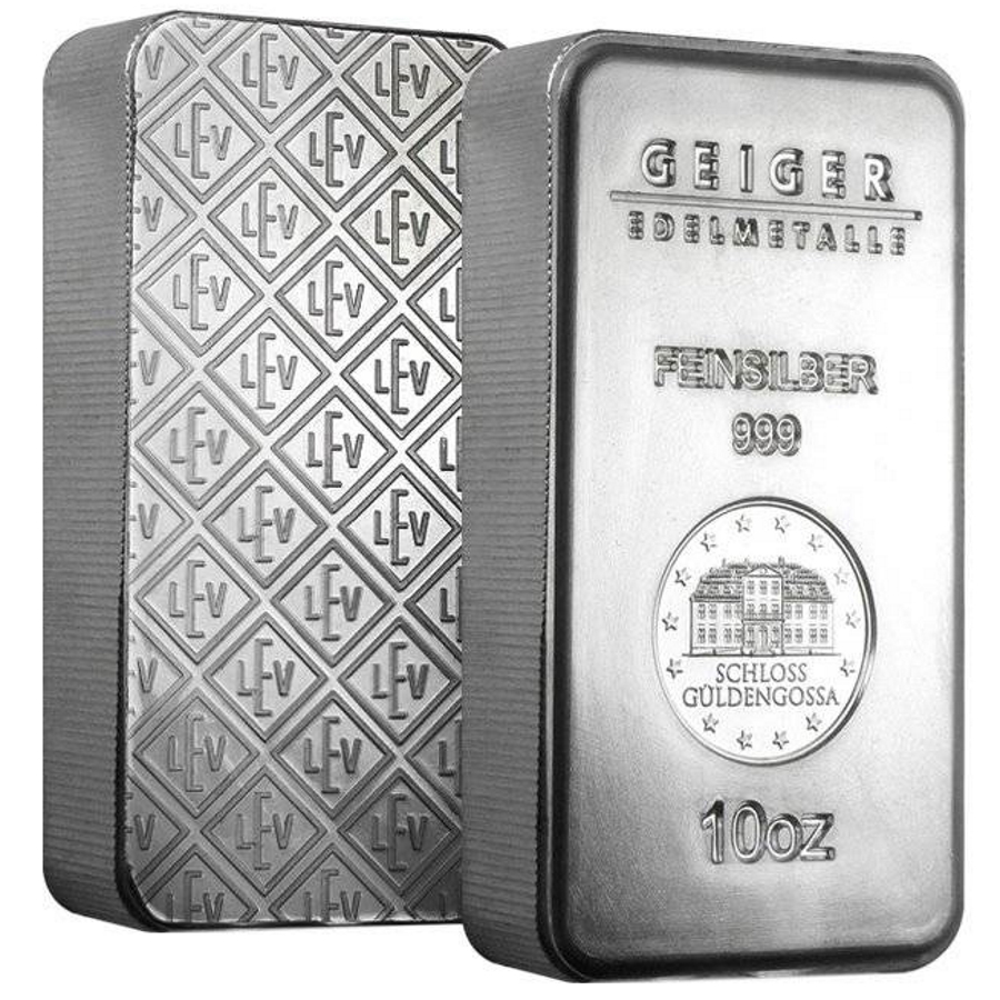 10 oz Geiger Security Line Silver Bar .999 Fine - Sealed
