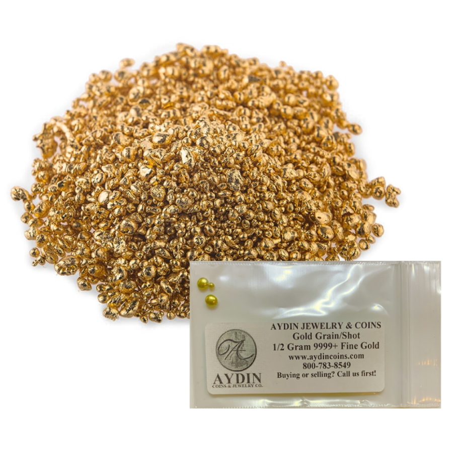 1/2 gram Refined Pure 24K Gold .9999+ Fine Gold Grain Shot