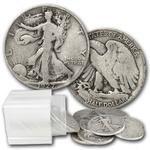 Halves Walking Liberty $10 90% Silver 20 Coin Roll Avg. Circ